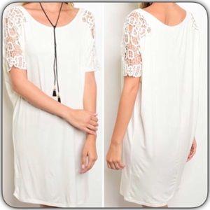 Dresses & Skirts - Short Sleeve Crochet Detail Dress White